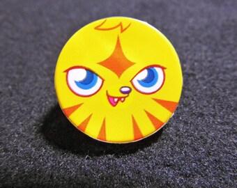 button round 25mm yellow and orange