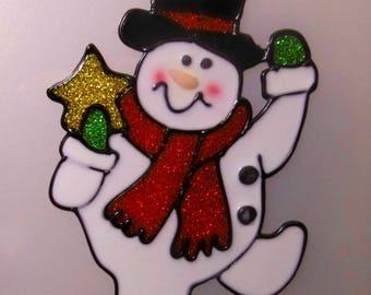 Christmas decoration window vitrostatique 13cm embossed black hat snowman