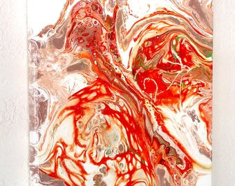 The Fire Within Abstract Acrylic Flow Painting 8 x 10 Canvas