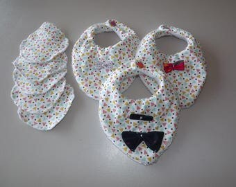 SET of 3 BIBS or BAVOUILLETTES BANDANA has snaps and 5 wipes