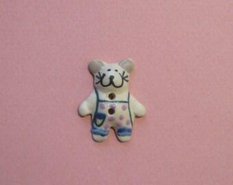 Ceramic button, 30 x 25 mm, mouse, 2 holes.