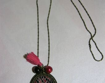 "Pendant necklace/retro/vintage bronze with cabochon glass 30X40mm ""Geometric black and pink"""