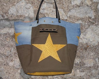 Tote - Jean - khaki canvas - yellow stars