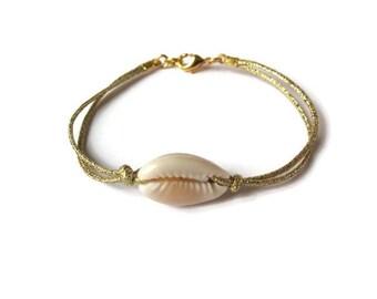 White cord shell bracelet