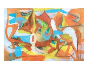 Art is Happy, postcards, prints, abstract, orange