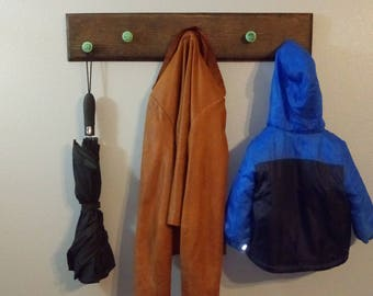 Handmade Coat Rack with 5 turquoise Antique Knobs
