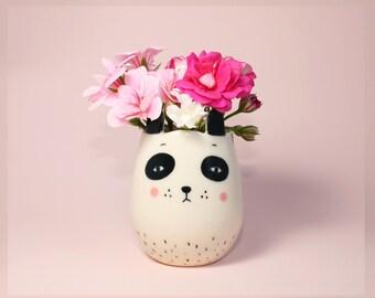 Handmade by Hesukinae Studio, Animal Vase, Panda Vase, Handmade Vase, Home Décor