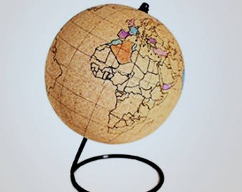 Mini Color-In World Cork Globe - Perfect Gift for Globe Trotters - Unique New Globe - Great For Travelers and World Enthusiasts - 12 Pins