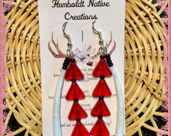Red Triangle Dentalium Earrings