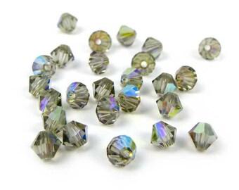50 x polished 4 mm BLACK DIAMOND AB bicones