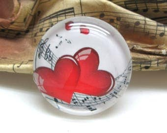 1 cabochon 25 mm glass hearts red music 2-25 mm