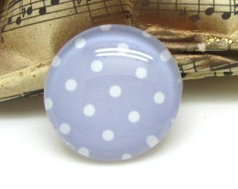 2 cabochons 14 mm glass purple 14 mm-Pastel polka dots