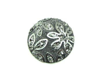 1 cabochon 25 mm round resin flower glittery Silver grey - 25 mm
