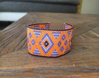 Orange bracelet cuff miyuki beads