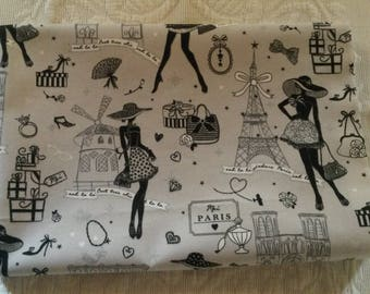 "Fabric vintage 50 X 50 cm ghost ""50s Paris"""