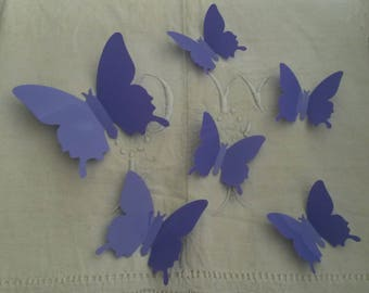 Flight of butterflies 3D / purple / decals