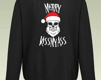 Merry Kissmyass Sweatshirt JH030 Funny Joke Merry Christmas Sweater Jumper
