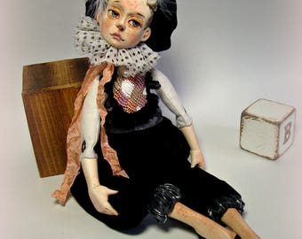 sold. Doll collection Brant, unique, OOAK art doll, little art doll Brant County artist rag doll
