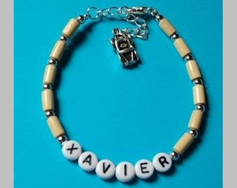 Personalized Bracelet with wooden beads