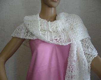 soft lightweight openwork White hand knitted stole