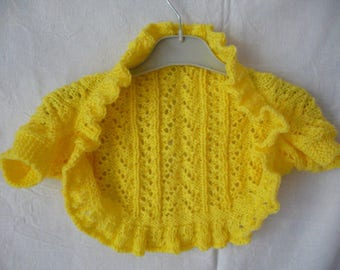Yellow hand knitted Bolero girls 5 years