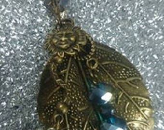 leaf pendant bronze ethics charms elephant and 85mm Crystal beads / 35mm