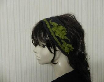 Designer headband, wide-brimmed, fleece gray and green fully