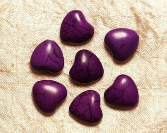 10pc - beads Turquoise synthetic - hearts 15 mm purple 4558550033680