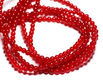 40pc - jade stone - balls 4mm bright red - 4558550093059