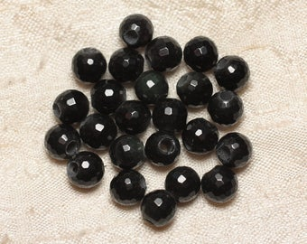 2PC - stone 2.5 mm hole beads - faceted Obsidian 8 mm 4558550027160