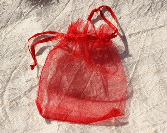10pc - bags jewelry 10x8cm 4558550007605 red Organza gift bags