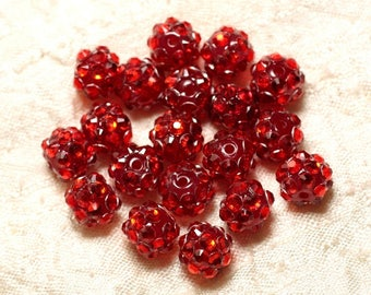 10pc - sorts 10x8mm 4558550029744 red resin beads
