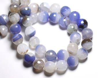 2PC - stone beads - Agate Quartz faceted balls 14mm white sky blue - 4558550081766