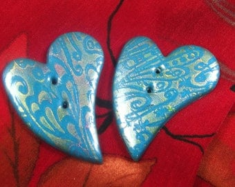 2 buttons sewing blue heart shaped 4.5 cm Pearl designs
