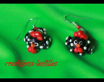 polymer clay, earring, small hen, Christmas jewelry, fimo, cernit kawaii birthday gift
