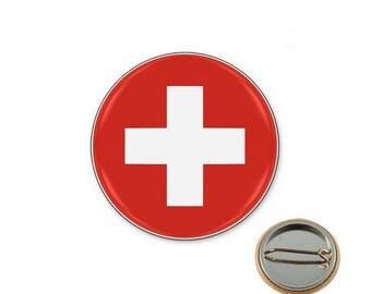 Swiss flag - Ø25mm pin badge