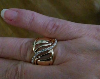 ring size 52 Gorgon gold plated and rhinestone