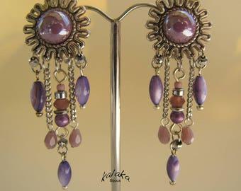Purple Sun clip earrings