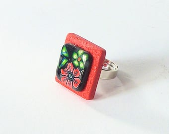 """Red and black ring """"No Flamenco"""""""