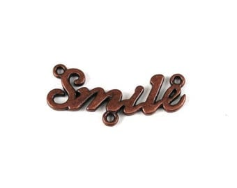 """Little red copper metal """"SMILE"""" connector"""