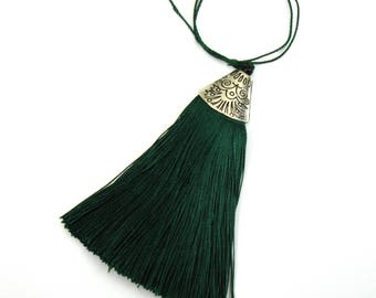 Green tassel with Silver Cup charm