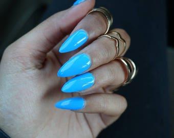 Periwinkle Blue Press On Nails | Fake Nails | Almond, Square, Stiletto, Coffin, Ballerina, Round