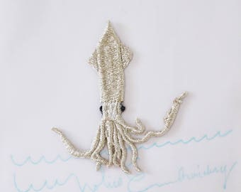 Sea Life 〈Squid〉embroidery patch