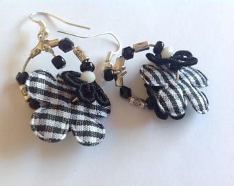 Earrings Creole silver-plated beads, black and silver, flowers in shades of black and white gingham fabric,