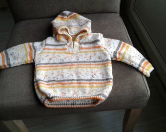 HAND SIZE 6 MONTHS KNITTED HOODED SWEATER