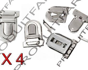 Set of 4 frame satchel bag clip Chrome 25 * 33 mm