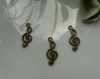 x 2 bronze treble clef pendant charm