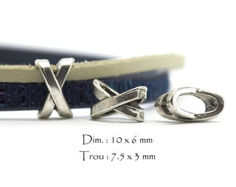 10 pearls loops Slides for drawstrings - Interleave shaped X - Sun. : 10 x 6 mm / hole: 7.5 x 3 mm - color obsolete money