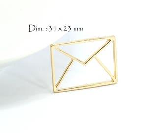 2 Origami - Sun envelope letter charms. : 31 x 23 mm - gold gilt