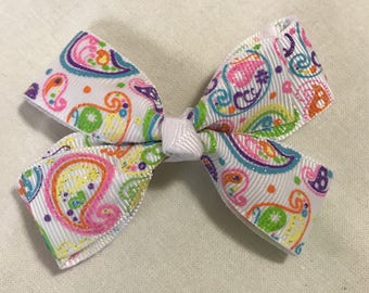 Neon rainbow paisley hair bow